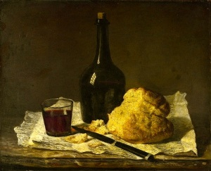 Still Life with Bottle, Glass and Loaf 19th century, Imitator of Jean-Siméon Chardin Although this painting has in the past been attributed to the artist, on stylistic grounds it is now recognized as a 19th-century imitation.