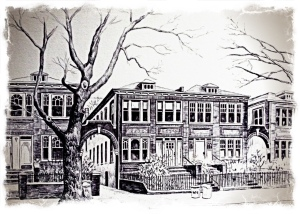 Pen & Ink drawing of my house in Crown Heights, Brooklyn, early 1980s. by Nancy Wait