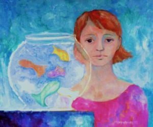 Girl with Fish Bowl, by Nancy Wait; oil on canvas (1982)