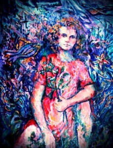 Girl Under Water (edited) oil on canvas by Nancy Wait 1987