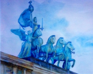 The Quadriga, Grand Army Plaza, Brooklyn, watercolor by Nancy Wait 1995