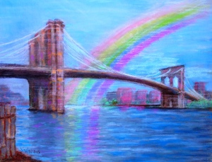 Brooklyn Rainbow, pastel on paper 20x30, Nancy Wait 2015