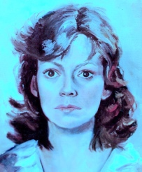 self-portrait tinted blue, by Nancy Wait 1982