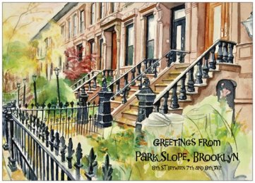 Watercolor by N Wait Eighth Street, Park Slope